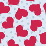 Valentines background. Pattern with blue and dark pink hearts Stock Image