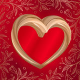 Valentines background abstract golden heart on red Royalty Free Stock Photo