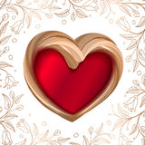 Valentines background abstract golden heart on red Stock Image