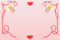 Valentines background with angels. Valentines background. Pink decoration. Vector illustration Stock Photo