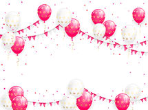 Valentines background with balloons. Pennants and confetti, illustration Royalty Free Stock Photography