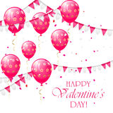 Valentines background with balloons and pennants. Valentines background with pink balloons, pennants and confetti, illustration Stock Image