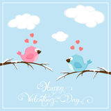 Valentines background with birds and hearts Stock Image