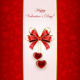 Valentines background with bow and hearts Stock Image