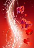 Valentines background with diamond hearts. Place for text Vector Illustration