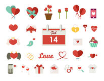 Valentines background in flat design style Stock Photography