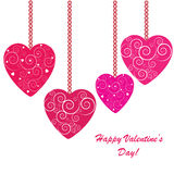 Valentines background with four hearts. With ornament on white phone Vector Illustration