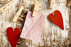 Valentines background with handcrafted hearts Royalty Free Stock Photos