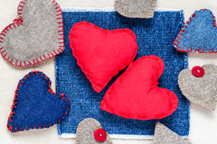 Valentines background  Handmade hearts old paper Royalty Free Stock Image