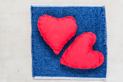 Valentines background  Handmade hearts old paper Stock Photography
