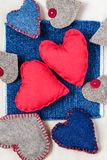 Valentines background  Handmade hearts old paper Stock Photo