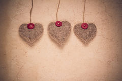 Valentines background  Handmade hearts old paper Stock Image