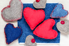 Valentines background  Handmade hearts old paper Stock Images
