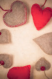 Valentines background  Handmade red hearts old paper Royalty Free Stock Images