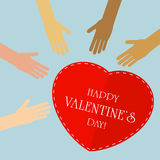 Valentines background with heart and hands Royalty Free Stock Photo