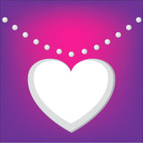 Valentines background with a heart shape necklace Stock Photography
