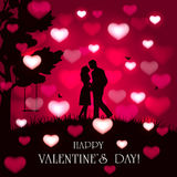 Valentines background with hearts and couple Stock Photos