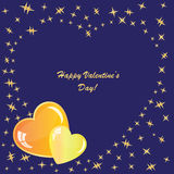Valentines background with hearts and stars. On blue phone Royalty Free Stock Photo