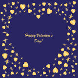 Valentines background with hearts and stars. On blue phone Royalty Free Stock Photos