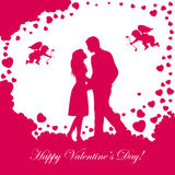 Valentines background with loving couple Stock Image