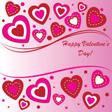 Valentines background with many hearts. On pink phone Royalty Free Stock Photos