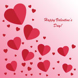 Valentines background with many hearts. On pink phone Vector Illustration