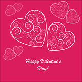 Valentines background with many hearts. Valentines background with white hearts with ornament on pink phone Royalty Free Stock Photo