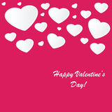 Valentines background with many hearts. Valentines background with many white hearts on pink phone Royalty Free Stock Photo