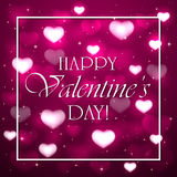 Valentines background with pink hearts Stock Images