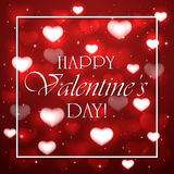 Valentines background with red hearts. Red background with blurry hearts, stars and white frame, illustration Royalty Free Stock Images