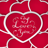 Valentines background with red hearts and I Love You Royalty Free Stock Photography
