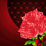Valentines background with roses. Illustration of roses on Valentine's day background with hearts pattern Stock Image