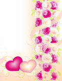 Valentines background with roses and hearts. Vertical  romantic background with roses and two hearts Stock Image