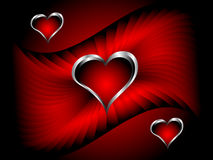 A  valentines background with silver hearts Royalty Free Stock Photo