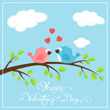Valentines background with two birds and hearts Stock Photography