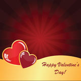 Valentines background with two hearts Stock Photos