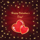 Valentines background with two hearts. On dark phone with rays and stars Royalty Free Stock Images