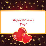 Valentines background with two hearts. With frame, rays and stars on dark phone Royalty Free Stock Image