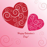 Valentines background with two hearts. With ornament on pink phone Royalty Free Stock Photos