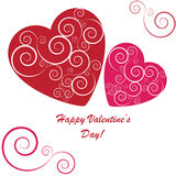 Valentines background with two hearts. With ornament on white phone Royalty Free Illustration