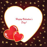Valentines background with two hearts with stars Stock Photography