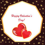 Valentines background with two hearts with stars. Valentines background with two hearts with frame, rays and stars on dark phone Stock Illustration