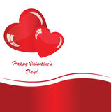 Valentines background with two hearts. On white phone with waves Royalty Free Stock Image