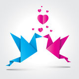 Valentines Background. Two kissing. Origami birds with shadow Royalty Free Stock Images