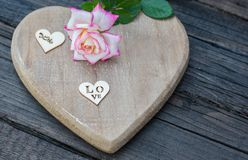 Valentines Background, wooden heart, rose, Valentine day love. Valentines Background, wooden heart, rose. Valentine day love. With copy space Royalty Free Stock Photography