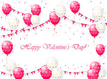 Valentines balloons. Valentines background with pink and white balloons, pennants and confetti, illustration Royalty Free Stock Image
