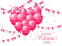Valentines balloons and pennants. Valentines background with pink balloons in the form of heart, pennants and confetti, illustration Stock Images