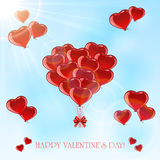 Valentines balloons in the sky Royalty Free Stock Image