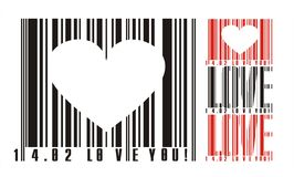 Valentines bar code. Bar code with heart and declaration of love for valentines postcard Stock Image