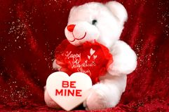 Valentines bear with candy Royalty Free Stock Photography